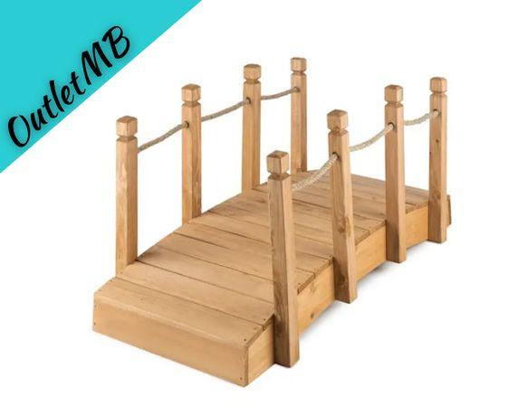 Mostek ogrodowy kładka ozdobna lite drewno 58x58x122cm 151005