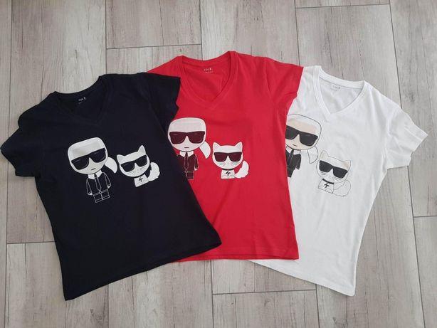 KARL LAGERFELD T- shirt damski v-neck