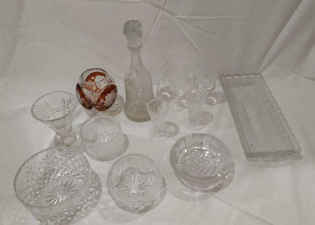 Karafka, kieliszki, Kryształy PRL vintage