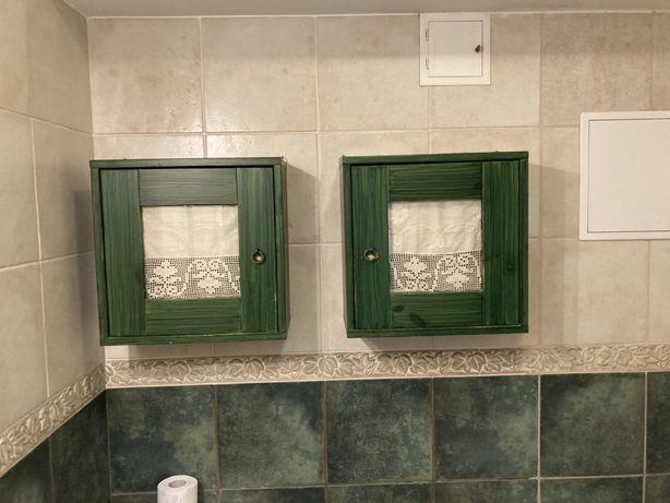 Szafki szafka drewniana zielona łazienkowa