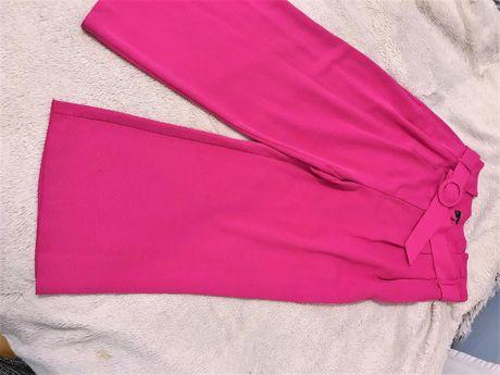 Spodnie rozowe fuksja luzne F&F wysoki stan hit pasek L 40