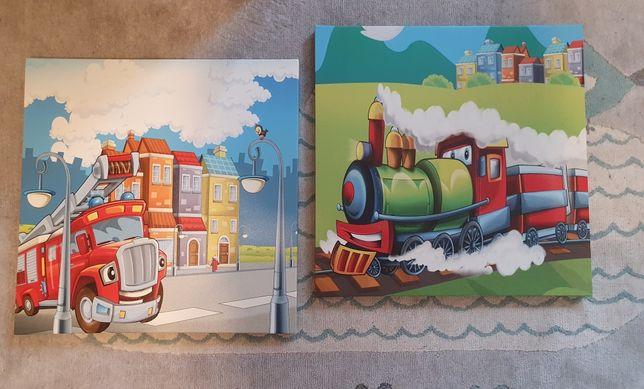 Obrazek dwa obrazki pokój chłopca pociąg straż pożarna ciuchcia