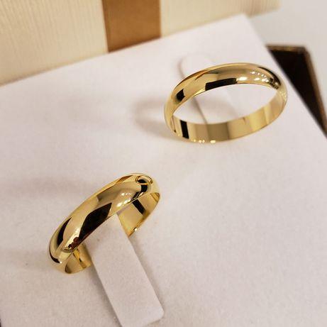 Śliczny Komplet Złotych Ślubnych Obrączek