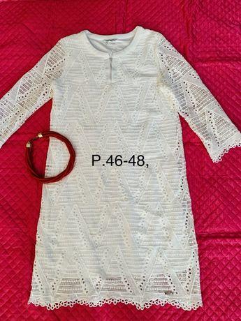 Платье белое молочного цвета ажур нарядное