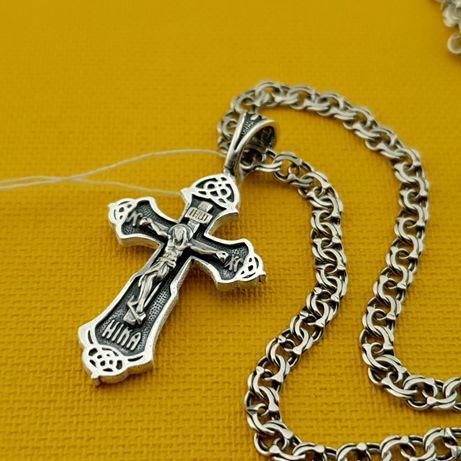 Хорошая цена!!! Серебряная цепочка и крестик. Кулон и цепь серебро 925
