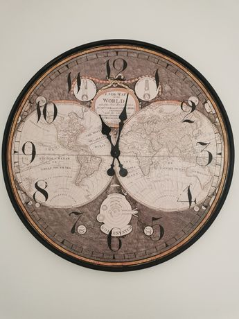Duży zegar ścienny na ścianę 80cm mapa świata