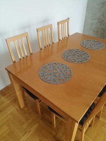 Stół bukowy i 6 krzeseł