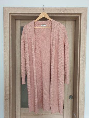Sweter pudrowy róż kardigan ciepły