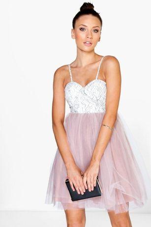 Nowa sukienka, dół z tiulem r.40-42 Boohoo róż cudo