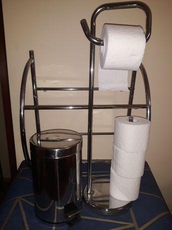 Zestaw do łazienki kosz, stojak na papier, półka