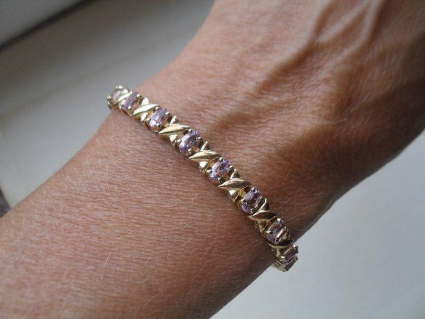 Srebro złocone z fioletowymi kamykami - śliczna bransoletka