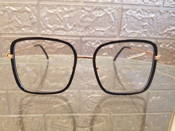 Okulary kwadratowe czarno złote oprawki unisex nowe