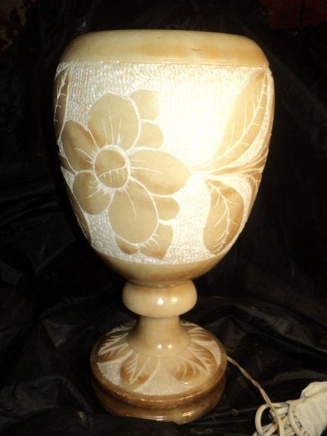 Мраморная настольная лампа светильник 38см камень антиквариат старина