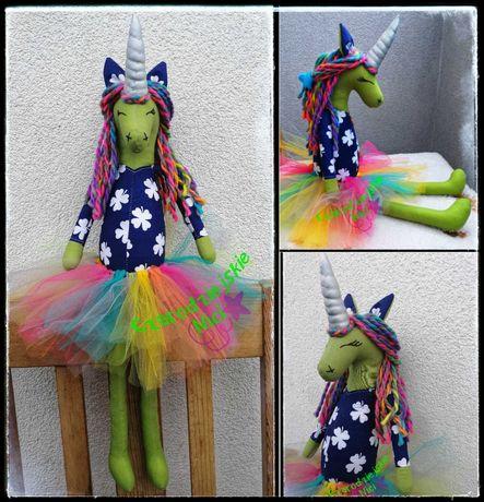 Pozytywny duży jednorożec betnica handmade Unicorn a'la Tilda