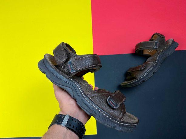 Сандали clarks original кожаные коричневые на липучках 42