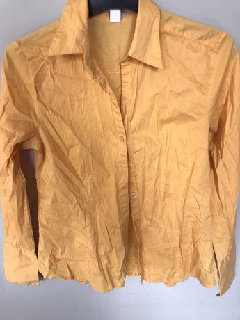 Żółta koszula H&M, elegancka, office look, r. 38/40