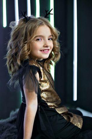 Черно-золотое платье со шлейфом,новогоднее, пайетки-перевертыши