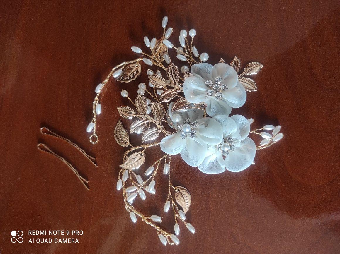 Ozdoba do włosów złota kwiaty perły ślub wesele