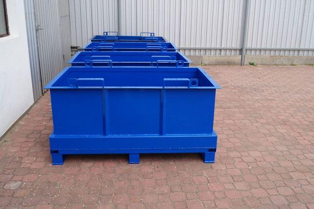 Metalowy pojemnik 0,75m3, nowy, pojemny, prostokątny, otwierane dno