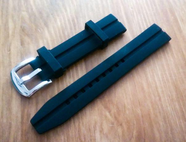 Pasek silikonowy do zegarka 20mm czarny