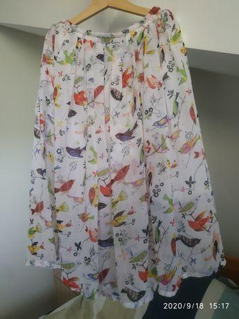 Spodnica MIDI biała w kwiaty ptaki delikatna S 36