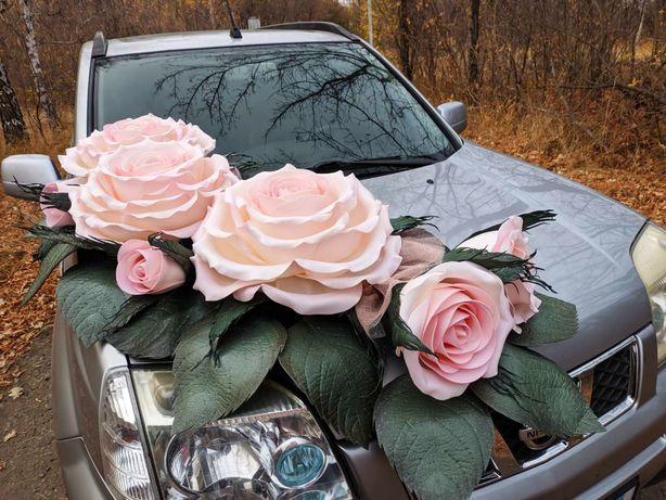Украшение на свадебное авто розы из изолона