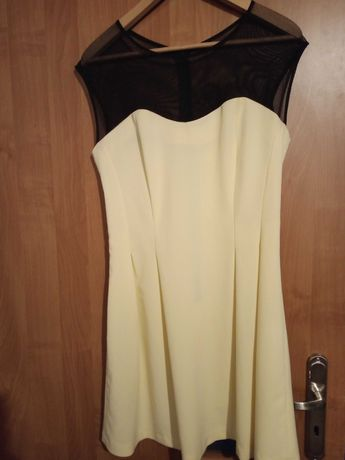 Żółta sukienka i siatkowaną górą