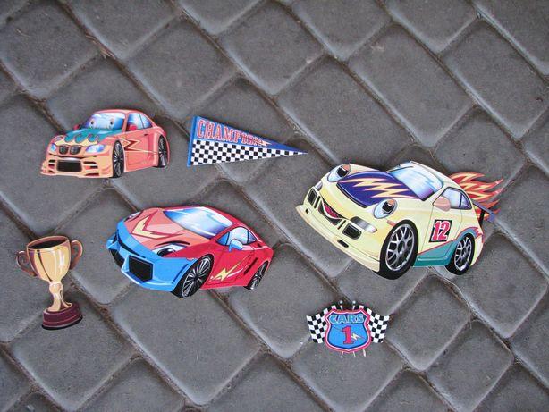 naklejki typu 3D dekoracja na ścianę do pokoju chłopca samochody