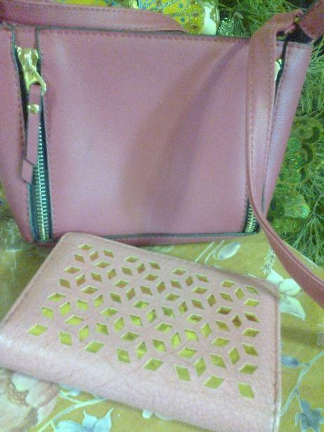 Набор сумка и кошелек и рюкзак новый