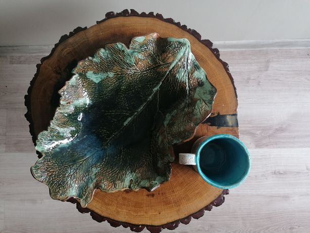 Talerz patera w kształcie liścia ceramika hand made