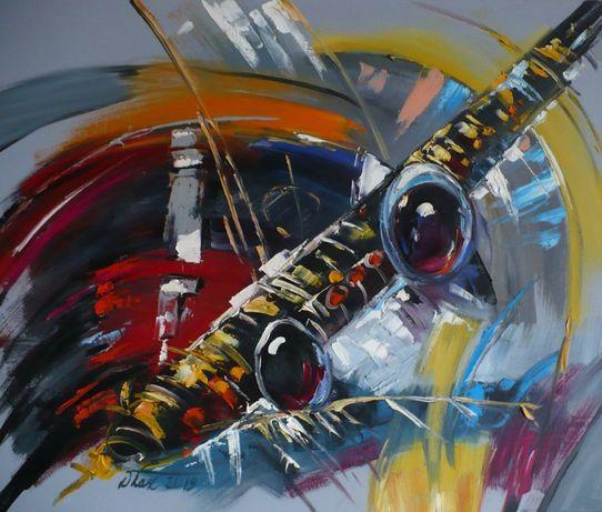 Abstrakcja z saksofonem - Dorota Łaz - olej o wym: 60x50cm