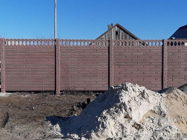 длина секции бетонного забора