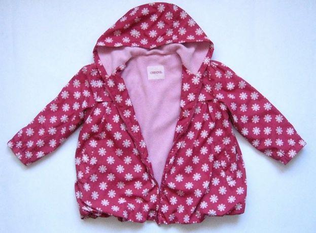 Красный в ромашках плащ, ветровка, подкладка флис, девочке 4- 5 лет.