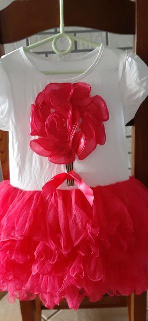 Sukieneczka na lato na 3/4 latka - falbanki z tiulu - śliczna !!!