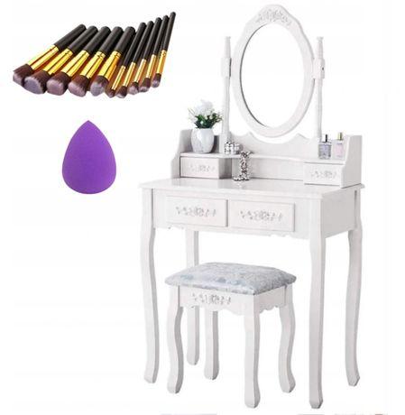 Piękna toaletka kosmetyczna +taboret, pędzle i gąbka PROMOCJA
