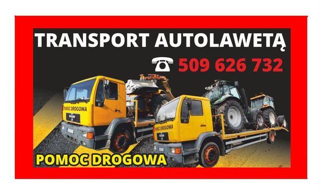 Przewóz ciągników transport laweta niskopodwoziowa pomoc drogowa