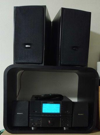 Aparelho de música Philips, rádio e amplificador e sistema surround.