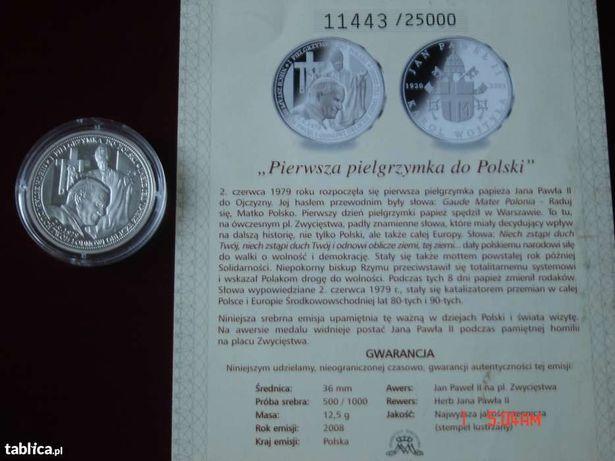 Moneta Jan Paweł II Pierwsza Pielgrzymka. Srebro.
