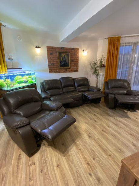 Kanapa Wypoczynek skórzany skóra 2 Fotele Relaks i Sofa 3os Relax