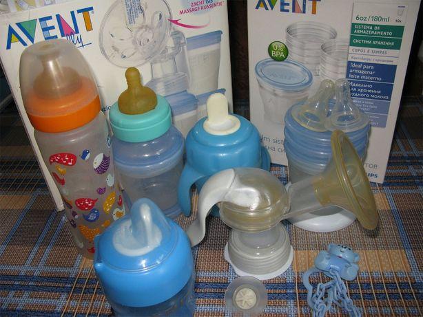 Набор: молокоотсос AVENT, бутылочка CHICCO, поильники AVENT + соски