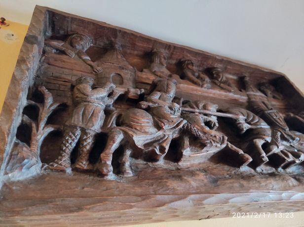 Stary Obraz Płaskorzeźba Drewno
