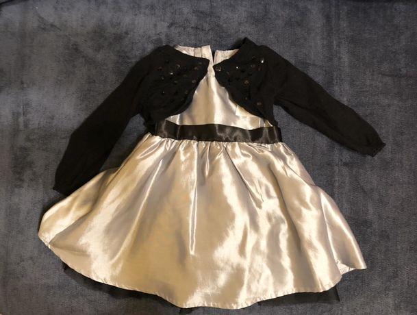 Elegancka sukienka satyna/koronka/bolerko Smyk Roz.74