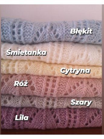 Luźny ażurowy sweter w pastelowych kolorach produkt polski Lawendowy