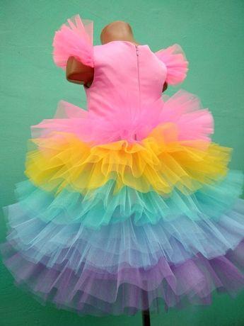 Платье в стиле единорожки или радуги на рост 100 - 116 см прокат