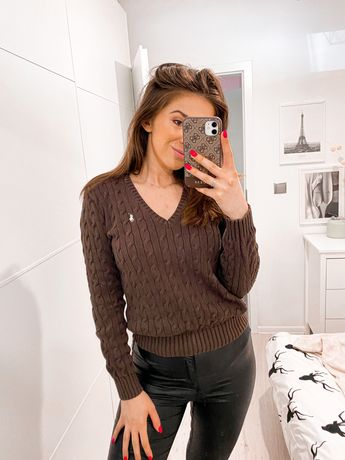 Brązowy sweterek Ralph Lauren rozmiar 40