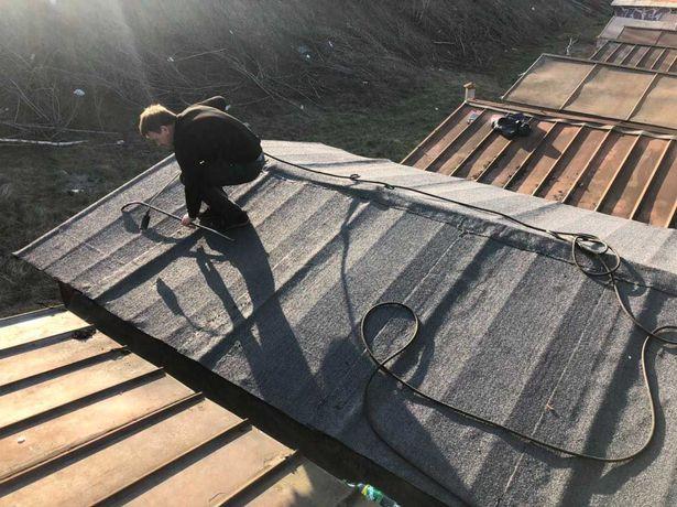 Ремонт кровли крыши гаража балкона еврорубероидом гидроизоляция