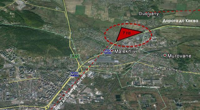 Комерційна фасадна ділянка 7,6 га при трасі М06 ( Малехів).