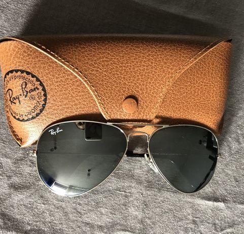 Ray Ban okulary przeciwskoneczne Aviator srebrne