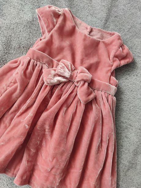 Cool Club Cudowna welurowa sukienka pudrowy róż 74