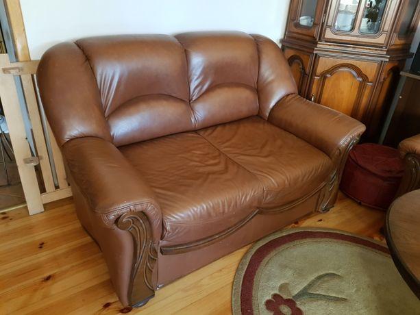 Komplet kanapa skórzana sofa 2+3 + fotek i stolik